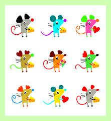 cute rat greeting vector