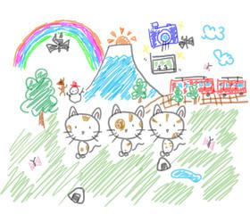 猫ちゃんたちの旅行風景。記念撮影もしたよ。子供の落書き風イラスト
