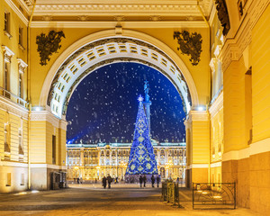 Christmas St. Petersburg. View of Palace Square through the arch of the General Staff