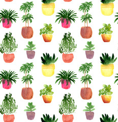 watercolor seamless pattern with houseplants. Hand drawn with watercolor flowerpots ornament for wallpaper, backdrop, textile, perfect for houseplants shop.
