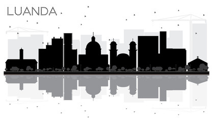 Luanda Angola City skyline black and white silhouette with Reflections.