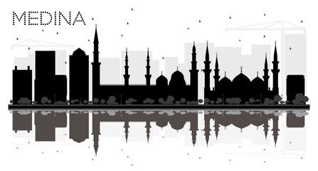 Medina Saudi Arabia City skyline black and white silhouette with Reflections.