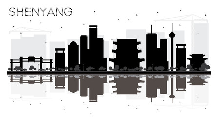 Shenyang China City skyline black and white silhouette with Reflections.