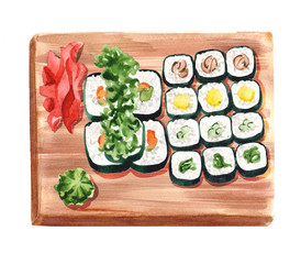 sushi set on wooden serving board. Vegetarian rolls serving with ginger and wasabi on special plate, top view watercolor illustration