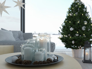 3d rendering. home with christmastree in modern apartment. 1. advent.
