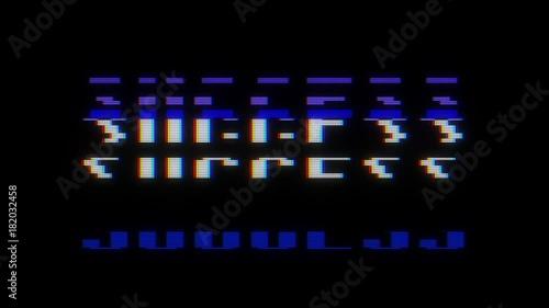 retro digital font success word text on old tv lcd glitch