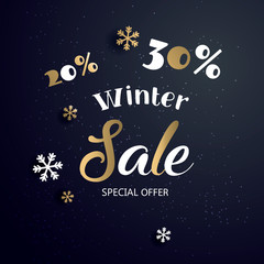 Christmas sale  banner with text and snowflake, vector illustration. Can be used as Christmas greeting card, poster or banner. Vector golden glittering stars, snowflakes and lettering