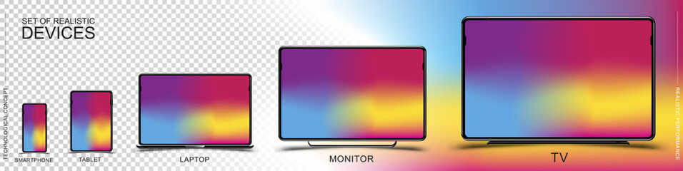 Set of realistic devices. Smartphone, tablet, laptop, monitor and TV on a transparent and colored background. Flat vector illustration EPS 10