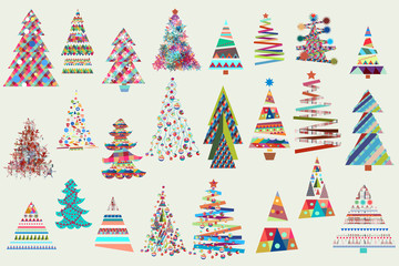 Big Christmas collection of vector Xmas trees in funky colors