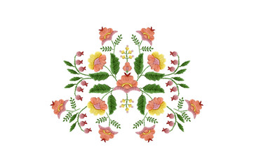 Pattern  for embroidery from bouquets of stylized pink,orange and yellow flowers with leaves and berries