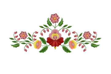 Embroidered bouquet of red with pink flowers and berries with leaves on white background
