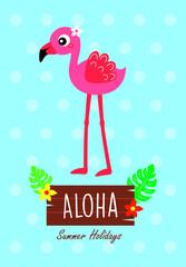 cute aloha pink flamingo vector
