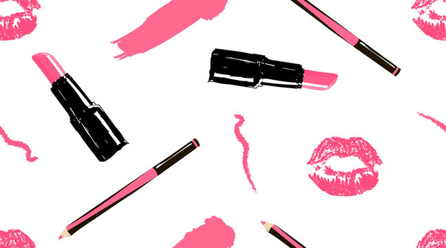 Professional makeup artist background. Vector seamless pattern with lipstick smear and brush, makeup pencils, lipstick, pink lips mouth. Hand drawn fashion art illustration in fashion trendy style.