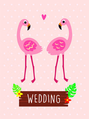 pink flamingo wedding greeting card vector