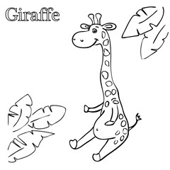 Giraffe coloring pages for children EPS 10
