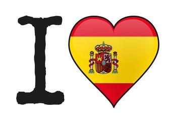 Espagne - I love Espagne - drapeau - cœur - icône