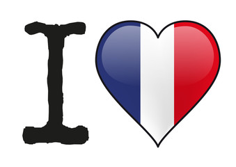 France - I love France - drapeau - cœur - icône