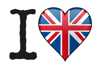 Grande Bretagne - I love Grande Bretagne - Royaume-Uni - Angleterre - drapeau - cœur - icône