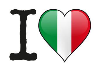 Italie - I love Italie - drapeau - cœur - icône