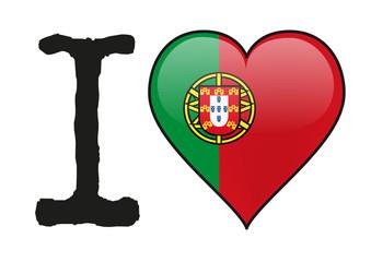 Portugal - I love Portugal - drapeau - cœur - icône