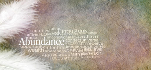 Angelic Abundance Word Cloud - two white feathers and an ABUNDANCE word cloud against a rustic subtle colored stone effect  background with copy space