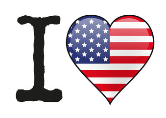 États Unis - I love États Unis - drapeau - cœur -icône