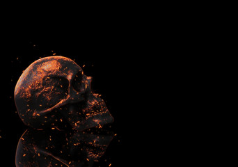 skull in fire wallpaper isolated in black with reflection 3d illustration