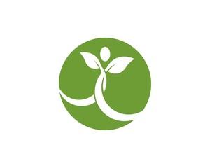 Nature leaf people logo design  template
