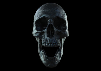 black skull screaming isolated in black background 3d illustration