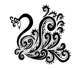 Hand drawn swan doodle illustration