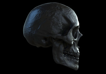 black skull isolated in black background in side view 3d illustration