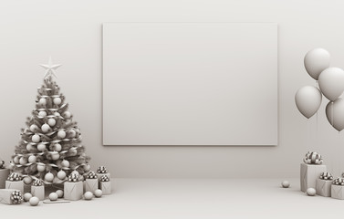 Interior mock up blank picture frame, Christmas decoration and gifts. 3D render illustration
