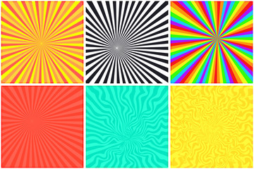 Abstract bright color retro striped backgrounds set for retro comic bubble. Rainbow, monochrome, psychedelic, sunny retro strip mockup for comics book text, speech bubble, message