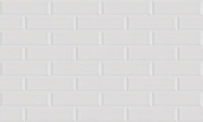 White ceramic brick tile wall background. Seamless pattern.