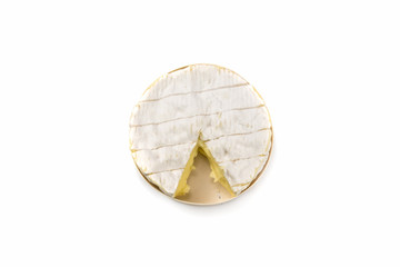 Fresh Camembert cheese natural on white background