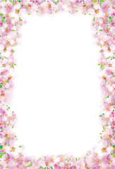 Vector pink, floral frame isolated, bokeh effect.