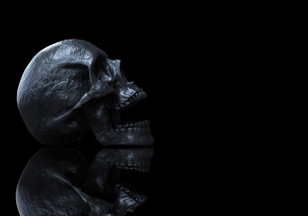 black skull isolated in black background with reflections 3d illustration
