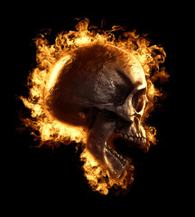 3d illustration of a skull i fire isolated in black background displayed in side view