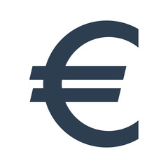 Euro sign icon on white background.