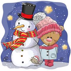 Snowman and Cute Cartoon Teddy Bear girl
