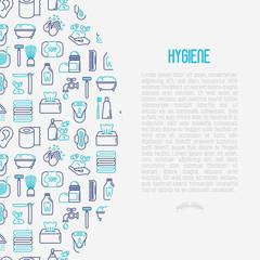 Hygiene concept with thin line icons: hand soap, shower, bathtub, toothpaste, razor, shaving brush, sanitary napkin, comb, ball deodorant, mouth rinse. Vector illustration.
