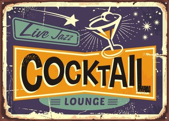 Cocktail lounge retro sign design with martini glass and creative typo
