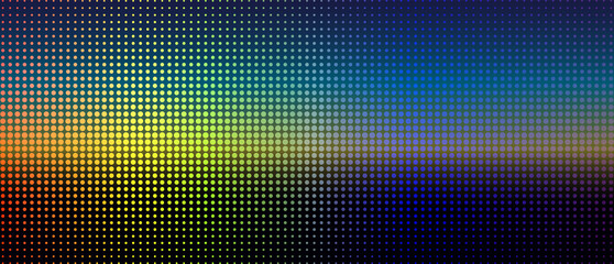 Abstract Digital Landscape of Colorful Dots. Futuristic Blur Background.