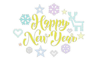 Happy New Year embroidery font and knitted decorations for holiday greeting card design. Vector Christmas calligraphy text, deer or snowflake and star decoration knitting on white Xmas background