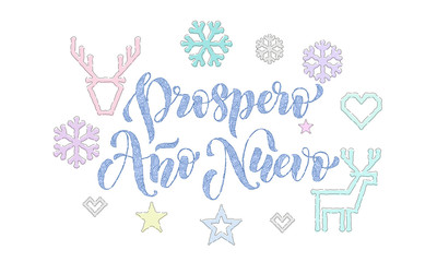 Prospero Ano Nuevo Spanish New Year knitted calligraphy font decoration for holiday greeting card design. Vector Christmas deer, snowflake decoration embroidery pattern on Xmas white background
