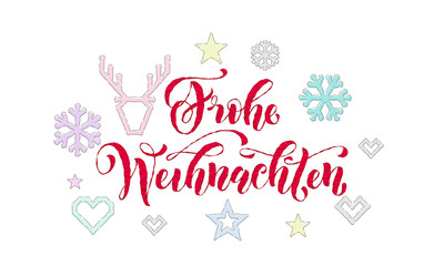 Frohe Weihnachten German Merry Christmas knitted calligraphy font decoration for holiday greeting card design. Vector Christmas deer, snowflake decoration embroidery pattern New Year white background