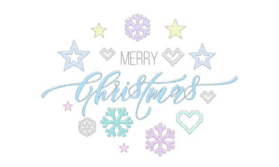 Merry Christmas embroidery font and decorations for holiday greeting card design. Vector Christmas knitted calligraphy text, New Year deer or snowflake and star decoration pattern on white background