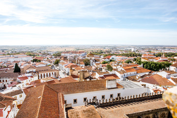 Cityscape view on the old town of Evora city in Portugal