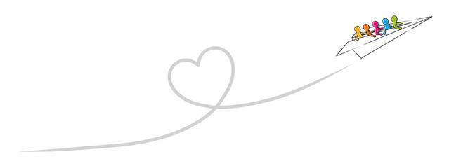 Papierflugzeug mit einer Gruppe Strichmännchen fliegt ein Kondensstreifen-Herz / Vektor-Zeichnung, freigestellt