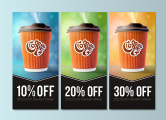 Coffee to Go Discount Concept. Vector EPS10